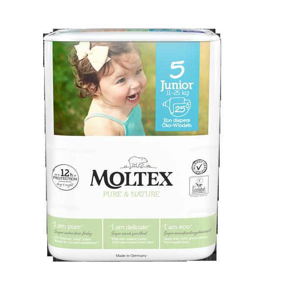 """""""Moltex Nature no.1"""" ekoloģiskās autiņbiksītes, 5 Junior"""